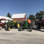 Line-up of tractors at the Nisbet Inn.